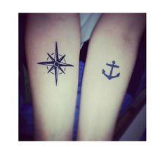 Rosa dei venti e ancora: l'amore è come il mare / tattoo per coppie