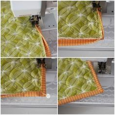 """Machine finished binding tips. I have trouble with the corners...this may help! Keep sewing until you reach a corner, stop 6"""" before the corner, fold the bottom edge up, then the side edge over creating a nice mitered corner and pin. Sew to the corner, leave your needle down and turn to sew down the other side."""