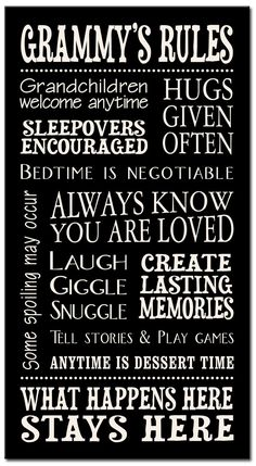 Omas House Rules for Grandchildren with Love Grandparents Handprinted Wood Sign 16 x 25