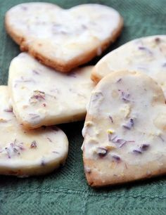 Iced lavender lemon shortbread heart cookies