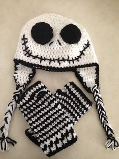 Jack Skellington hat and wristers - CROCHET. Crochet Baby ... 7138930793ea