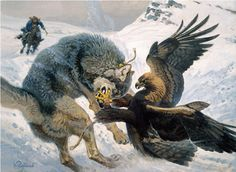 From the Black Sea to Korea, from southern Siberia to India, golden eagles were trained to pursue foxes and even wolves. Painting: Vadim Gorbatov.