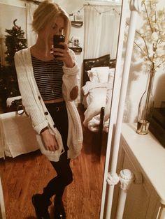 OOTD // Brandy Melville skirt, American Apparel striped crop top, brown belt, F21 cardigan, maroon Doc Marten chelsea boots happy wednesday bbs