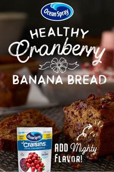 Delicious doesn't have to mean unhealthy. This Cranberry Banana Bread, made with Craisins® Dried Cranberries, is just as good for breakfast as it is for dessert. Plus, it makes the perfect holiday gift! Cranberry Bread, Cranberry Recipes, Quick Bread Recipes, Cake Recipes, Cooking Bread, Cooking Recipes, Art Du Pain, Banana Bread Recipes, Breakfast Dishes