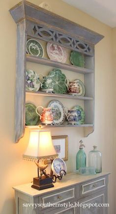 I have an old fireplace mantle with which i could do this. free from Cabinet Plate Rack, Plate Rack Wall, Wall Display Cabinet, Plate Shelves, Plate Racks, Display Shelves, Plates On Wall, Plate Display, Shelf