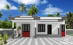 Unfold the simplicity and beauty of a new model showcased by this single story two bedroom residential house designed in a floor area of 88 m² only. Simple House Exterior Design, Single Floor House Design, House Roof Design, House Outside Design, Flat Roof House, Village House Design, Kerala House Design, House Design Photos, Small House Design