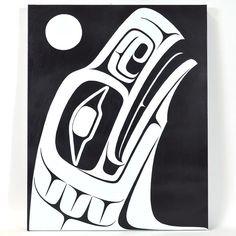 Raven Rising - Acrylic on Canvas Haida Kunst, Haida Art, Native American Tattoos, Native American Artists, American Crow, American Indian Art, Arte Inuit, Pottery Painting Designs, Eagle Art
