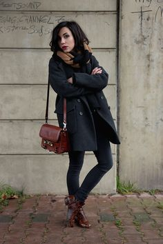 Love the navy coat and brown boots