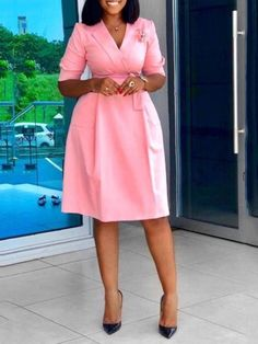 Ericdress Notched Lapel Knee-Length Half Sleeve OL Plain Dress(Without Brooch) Ladies Day Dresses, Office Dresses For Women, Woman Dresses, African Wear Dresses, Latest African Fashion Dresses, Ankara Fashion, African Attire, Latest Fashion, Classy Work Outfits