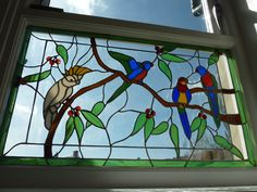 Australian birdlife...Copperfoil window made for previous house and enlarged to fit window in new house...made c2006 and comprising c 250 pieces of glass