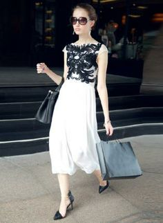 White Day Dress - Bqueen Crochet Carved Floral Chiffon