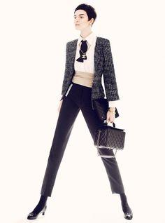 Elle US June 2012 - featuring the iconic Chanel jacket worn six unique ways: Ella V, Josilyn W, Veranika A & Vika K by Thomas Whiteside in Chanel