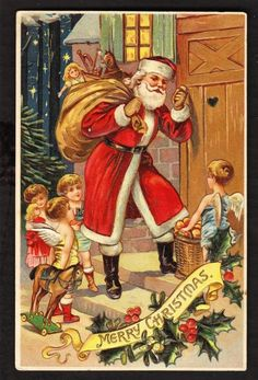 Beautiful Santa Claus with Children & Angels Antique Christmas Vintage Christmas Images, Victorian Christmas, Vintage Holiday, Christmas Pictures, Vintage Winter, Christmas Poems, Father Christmas, Christmas Angels, Christmas Art