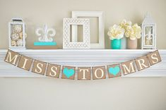 """Our Miss To Mrs Banner is a great bridal shower decoration for your bridal shower or bachelorette party! Pick your Custom Colors!  This Miss to Mrs Banner was made with: 1. 4x4"""" Chipboard Color: Brown 2. Inked Edges: Brown 3. Cardstock Lettering Color: Ivory 4. Cardstock Heart Color: Tiffany Blue 5. Twine Color: Ivory 6. Banner length is about 44 long depending on how you space each board!  HOW TO ORDER (Steps 1-3): ♥Step 1. Select your CHIPBOARD and LETTER colors from the Dropdown Menu…"""