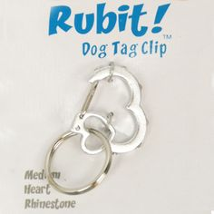 Isn't this the cutest little dog clip? it's a HEART!!! Rubit Dog Tag Clip - Silver Rhinestone Heart