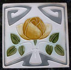 Jugendstil Fliese art nouveau tile Tegel Witteberg Rose stilisiert top rar schön