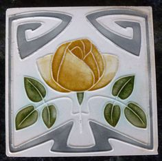 Jugendstil Fliese art nouveau tile Tegel Witteberg Rose stilisiert top rar schön