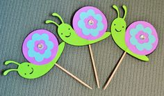 Cheerful Garden Snails Cupcake Toppers  by FestiveFoxShoppe, $13.50