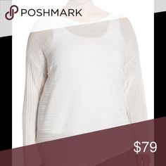 """🆕 Eileen Fisher asymmetrical hem sweater ➕ A bateau-neck sweater makes a lovely layering piece spun from an airy-light knit of Tencel yarns with ribbed texturing. An asymmetrical hemline keeps the look fresh.  - 23 1/4"""" shortest length; 30 1/4"""" longest length (size 2X)  - Bateau neck  - Long sleeves  - Semi-sheer; base layer shown sold separately  - 100% Tencel lyocell  - Dry clean or hand wash cold, dry flat  Runs large; if between sizes, order one size down. 1X=16W-18W, 2X=20W-22W…"""