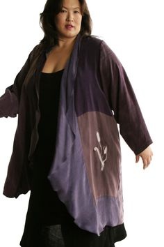 Wine Purple Rose Chocolate Silver Plus Size Dressy Coat Wearable Art 1281 Size 22/24