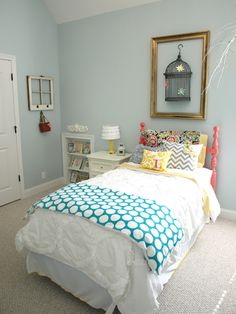 Love the bed. I'm always wanting to paint old furniture bright colors, and my husband talks me out of it!