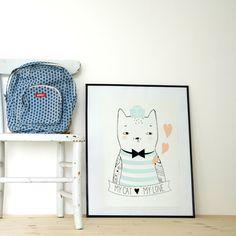 Affiche chat marin  http://www.homelisty.com/cadeaux-deco-amoureux-chats/