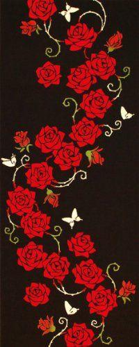 Japanese washcloth, Tenugui 薔薇紅 roses