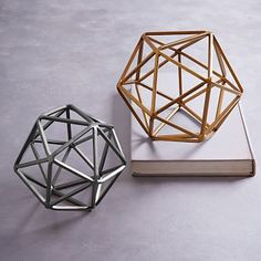 Symmetry Objects #westelm -- the silver ones are a good accent for coffee table, prob on a try with a candle and small succulent plant