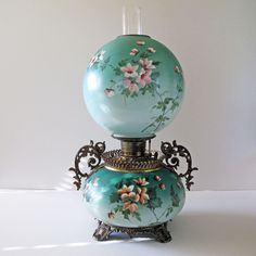 Gone with the Wind Oil Lamp Antique Victorian 1800's Cherry Blossoms