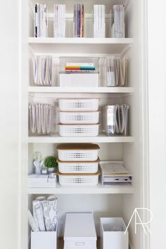 for Rue Magazine with The Home Edit a… Office organization. for Rue Magazine with The Home Edit and Alyssa Rosenheck Home Office Closet, Home Office Storage, Home Office Space, Home Office Design, Home Office Decor, Home Decor, Office Ideas, Closet Storage, Office Designs