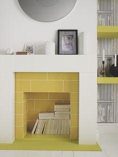 Living Room Yellow Tile - Bye Bye Backsplash 7 Alternative Ways to Use Wall Tile Paper & Stitch Empty Fireplace Ideas, Unused Fireplace, Fireplace Makeovers, Fireplace Surrounds, Fireplace Design, Fireplace Tiles, Modern Fireplace, 1930s Fireplace, Fireplace Redo