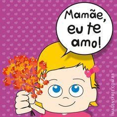 """Cartão Dia das Mães Eu Te Amo para compartilhar ou fazer download de graça. Desenho de menina segurando uma flor para dar para sua mãe. Cartão do Dia da Mãe com os dizeres """"Mamãe, eu te amo"""" Veja mais cartões do Dia da Mãe no site http://imagensfree.com.br"""