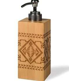 BAMBOO BASKET LOTION PUMP Right on trend for fall, the Native American-inspired geometrics of this piece are laser-engraved on eco-friendly bamboo. We love the stainless steel pump with antique bronze finish. Pendleton Woolen Mills
