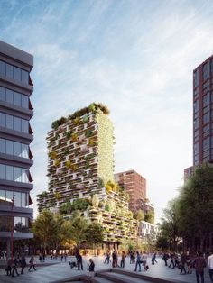 Designed by Stefano Boeri Architetti. Stefano Boeri Architetti's next vertical forest project will be found in Utrecht, after the firm was selected as winners in an international. Residential Building Design, Office Building Architecture, Hotel Architecture, Green Architecture, Architecture Visualization, Sustainable Architecture, Amazing Architecture, Utrecht, Vertical Forest
