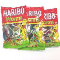 Haribo Gummi Candy, Worms, x Halal, 3 Packs, Solucan Gourmet Recipes, Snack Recipes, Haribo Sweets, Gummi Candy, Spirulina, Worms, Pop Tarts, Hibiscus