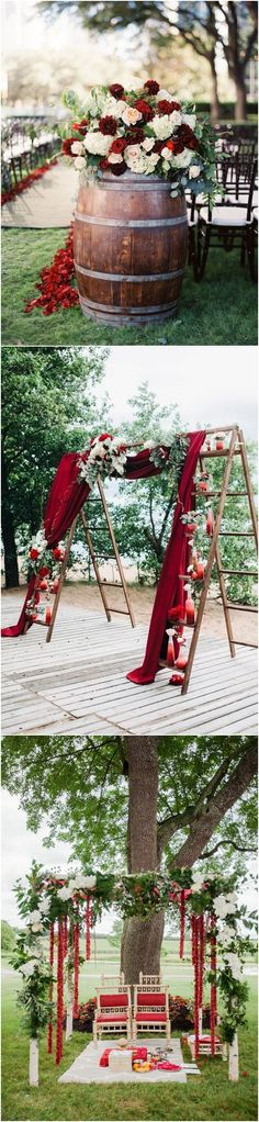Rustic Wedding 40 Fall Red Wedding Ideas We Actually Like / www.deerpearlflow… Rustic Wedding 40 Fall Red Wedding Ideas We Actually Like / www. Burgundy Wedding, Floral Wedding, Wedding Colors, Dark Red Wedding, Wine Colored Wedding, Wine Barrel Wedding, Red Wedding Flowers, Red Burgundy, Wedding Table