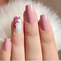 Make an original manicure for Valentine's Day - My Nails Pink Nail Art, Cute Acrylic Nails, Acrylic Nail Designs, Pink Nails, My Nails, Chic Nails, Stylish Nails, Trendy Nails, Rose Nails