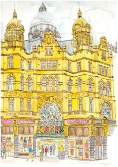 Watercolour and ink drawing of Leeds Kirkgate Market - private commission.