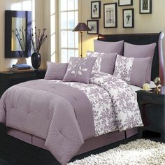 Amazon.com - Bliss Purple and White Cal-King size Luxury 8 piece comforter set includes Comforter, bed skirt, pillow shams, decorative pillows -
