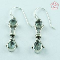 BLUE TOPAZ STONE 925 STERLING SILVER MODERN EARRINGS FOR LOVED ONES E3026 #SilvexImagesIndiaPvtLtd #DropDangle