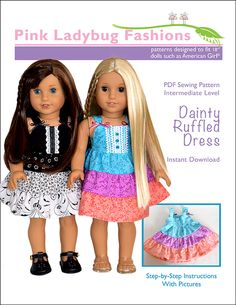 "Dainty Ruffled Dress 18"" Doll Clothes"