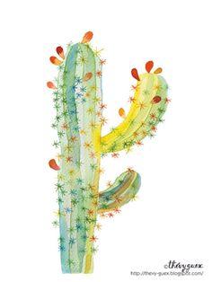 Cactus Poster Illustration Watercolor Painting Reproduction Art Print - Botanical Nature Plant Art - Kids Room - Wall Art Home Decor Cactus Drawing, Cactus Painting, Watercolor Cactus, Watercolor Print, Watercolor Paintings, Watercolor Paper, Painting Art, Art And Illustration, Illustration Cactus