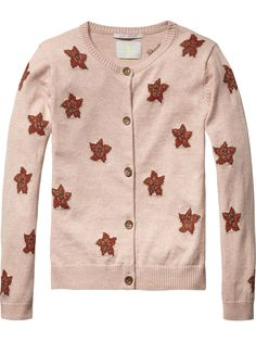 Intarsia Pattern Cardigan | Pullover | Girls Clothing at Scotch & Soda