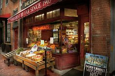 City - Boston Ma - Fresh Meats And Fruit Print by Mike Savad