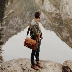 WOW. Check out Logan Cole's amazing shot of Tyler Branch and his Leather Brixton, perfectly framed by the reflection of the Sierra Nevadas beyond. Simply stunning! // #onabags #whereONAgoes
