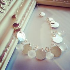 Raindrops Necklace  Moonstone Discs Sterling Silver by cocowagner, $158.90