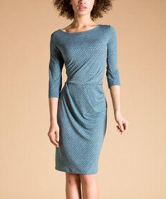 Look at this #zulilyfind! Blue Lattice Surplice Dress by Leota #zulilyfinds