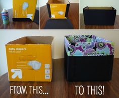 A Fabric Lined Storage Bin Mandy at Mandy's Krafty Exploits came up with a brilliant idea to recycle a diaper box. She covered the diaper box with canvas fabric in black and lined the edges with a printed fabric. This fabric lined bin can be used to store a multitude of things. A No Sew