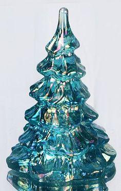 Fenton Art Glass - 4'' Tree in Robin's Egg Blue Iridized