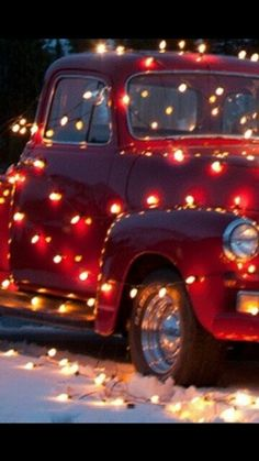 Vintage Red Christmas Truck